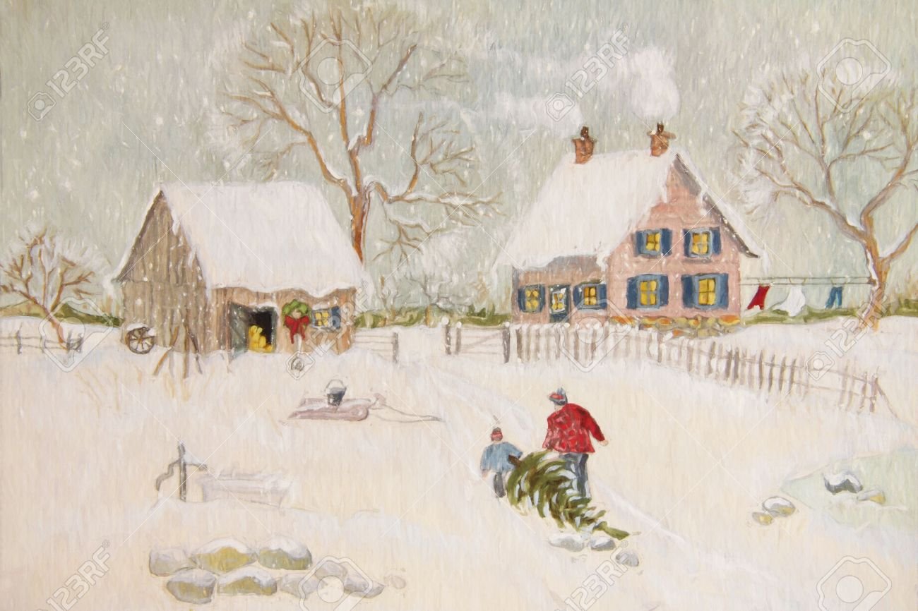 Winter-Szene Von Einem Bauernhof Mit Menschen, Digital Geändert ...