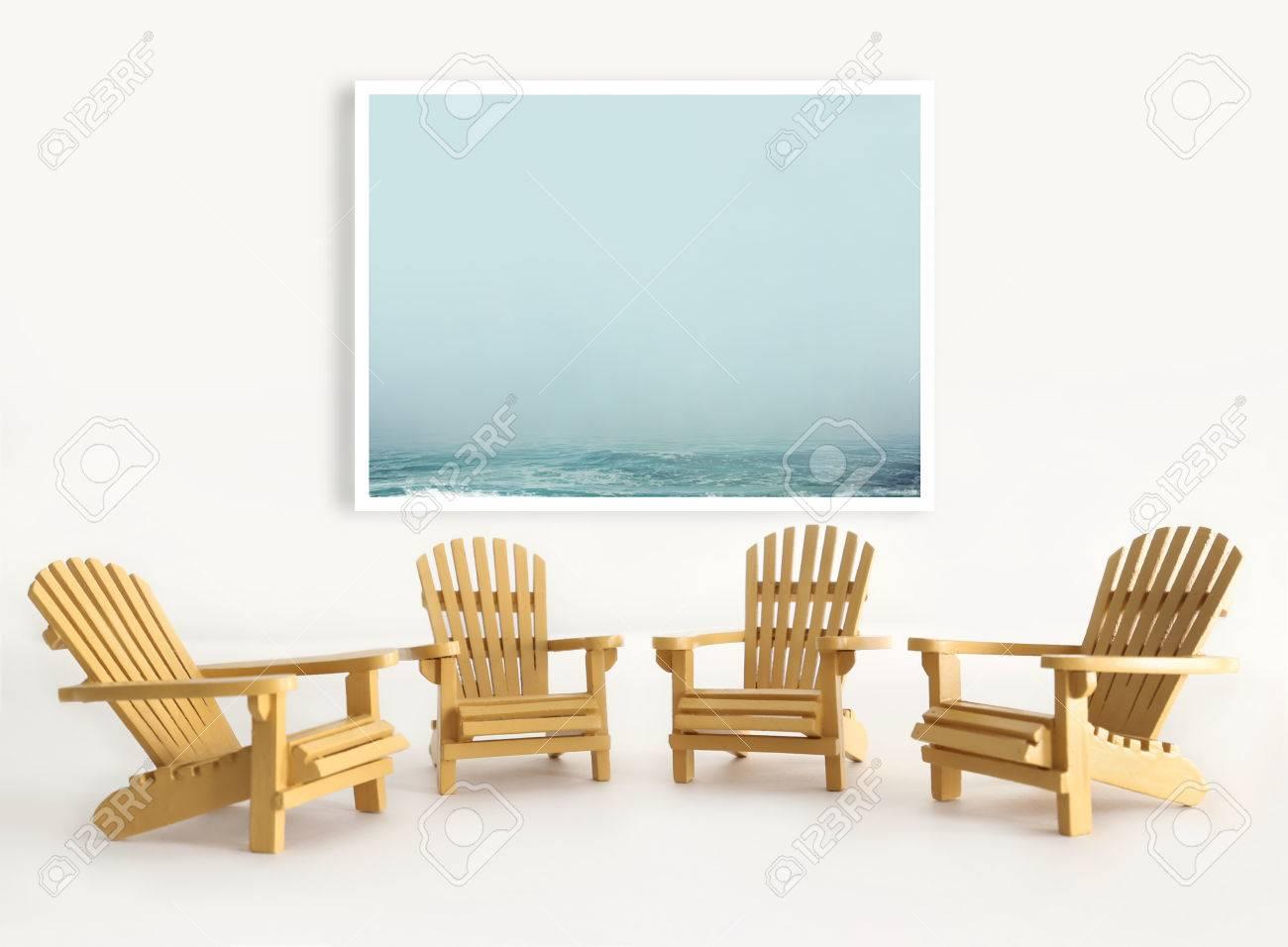 Four Miniature Adirondack Chairs On White Background Stock Photo   44432515