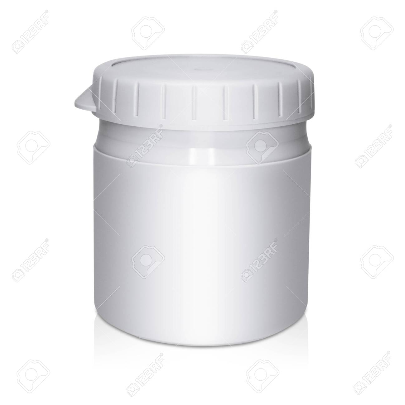 Gray plastic cream container on white background with reflection - 145840998