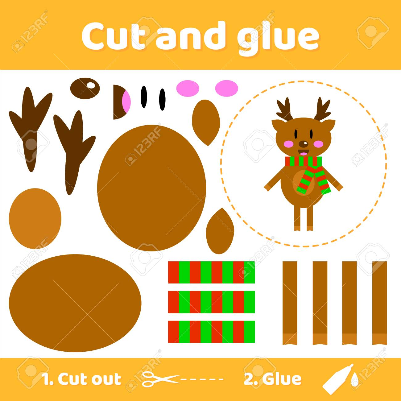 Vector illustration. Cute deer in scarf. Education paper game for preschool kids. Use scissors and glue to create the image. - 89472846