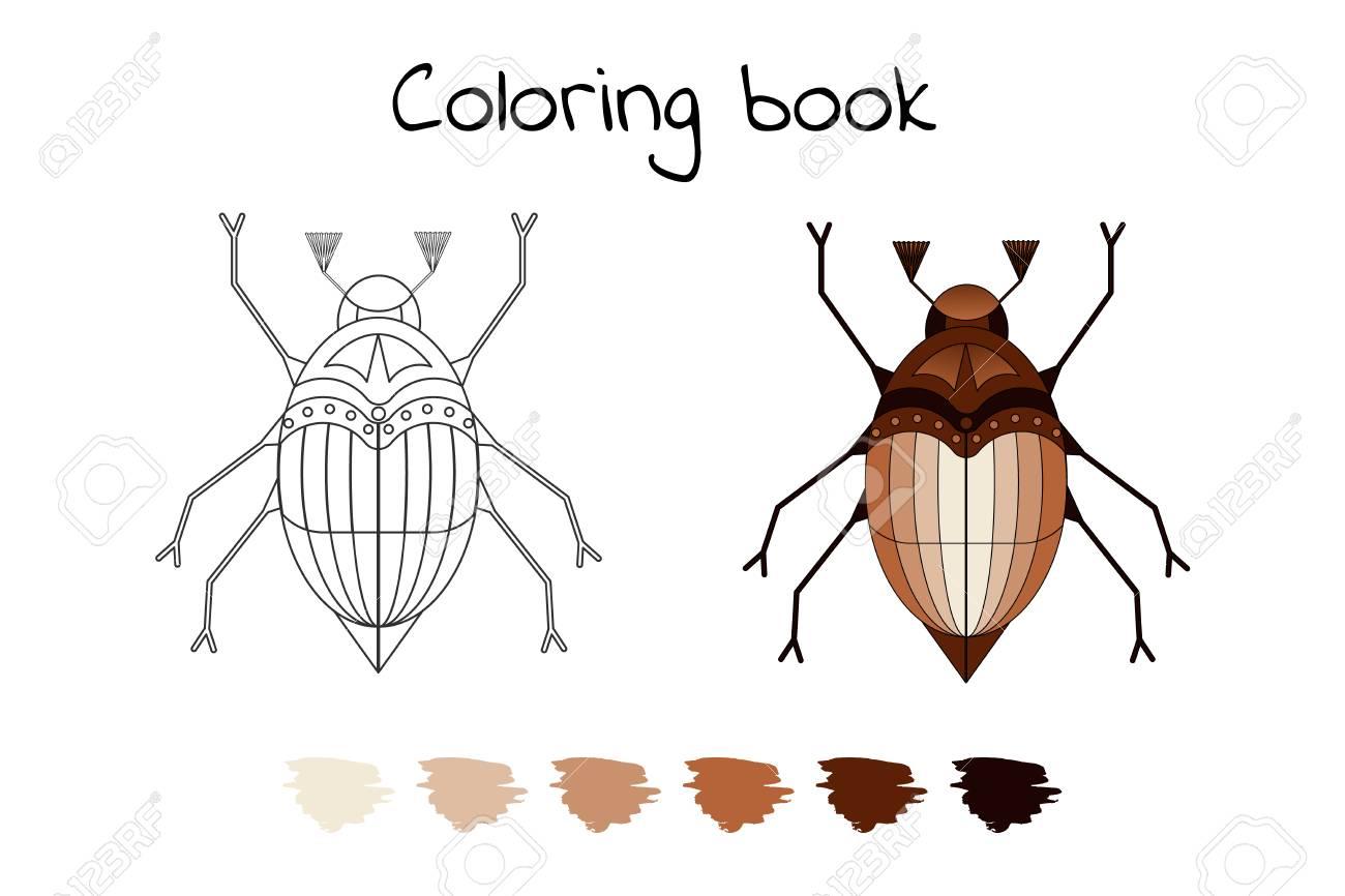 Libro Para Colorear Para Niños Ilustración Vectorial De La Beetl De Mayo