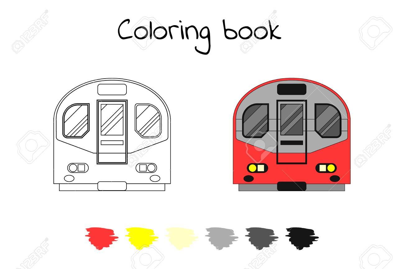 Coloring Book For Children. Vector Illustration. Subway Train ...