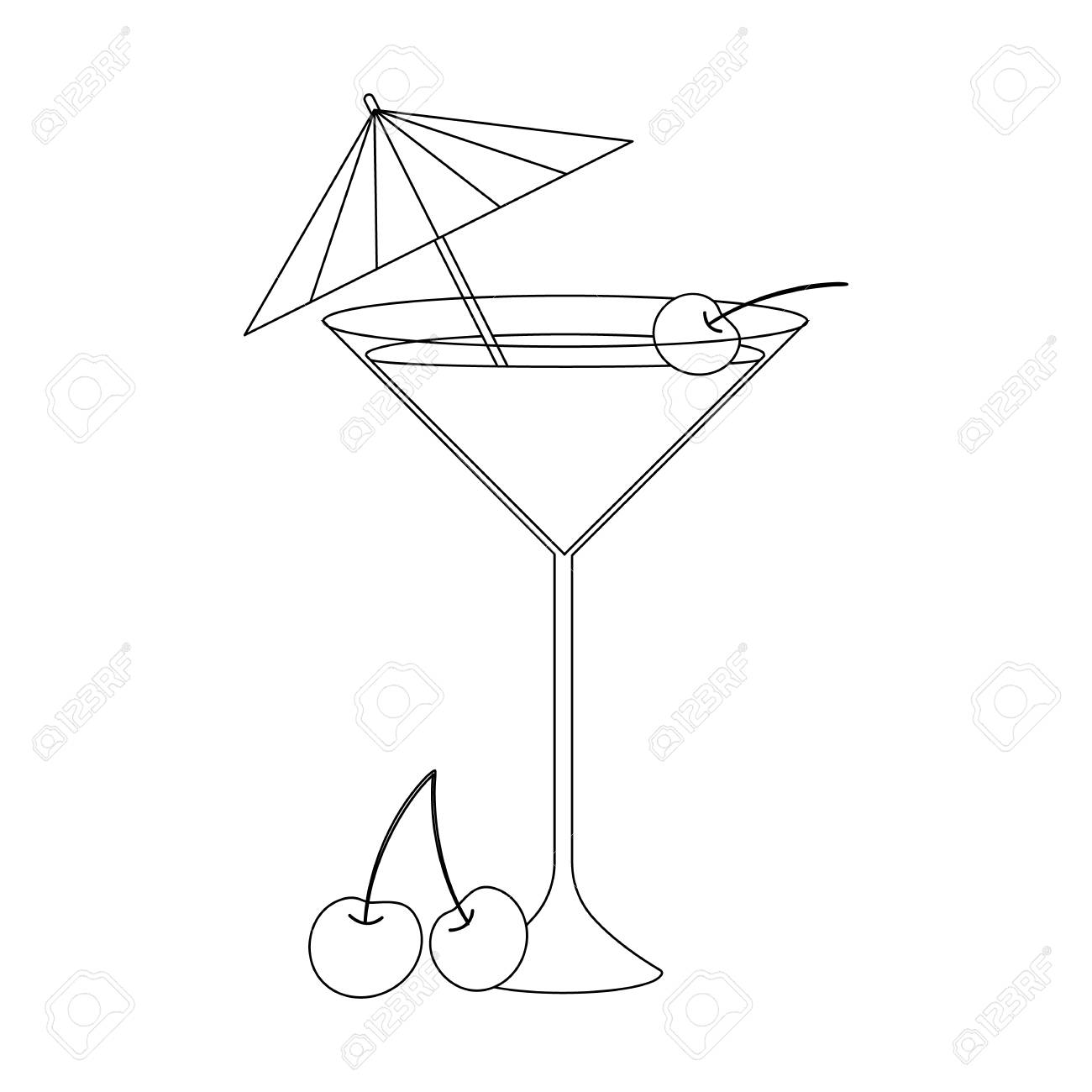 Coloring Book For Children Vector Illustration Cocktail With Cherry And Umbrella Stock