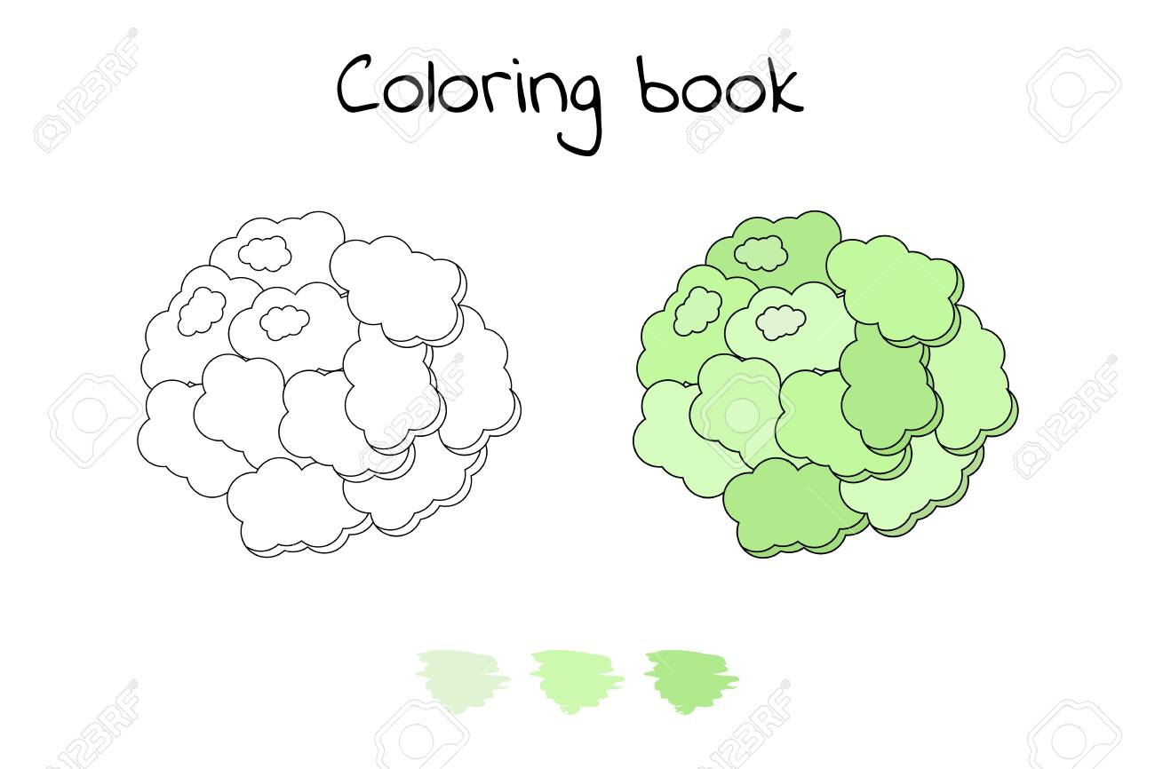 Game For Children Vegetable Coloring Page Cauliflower