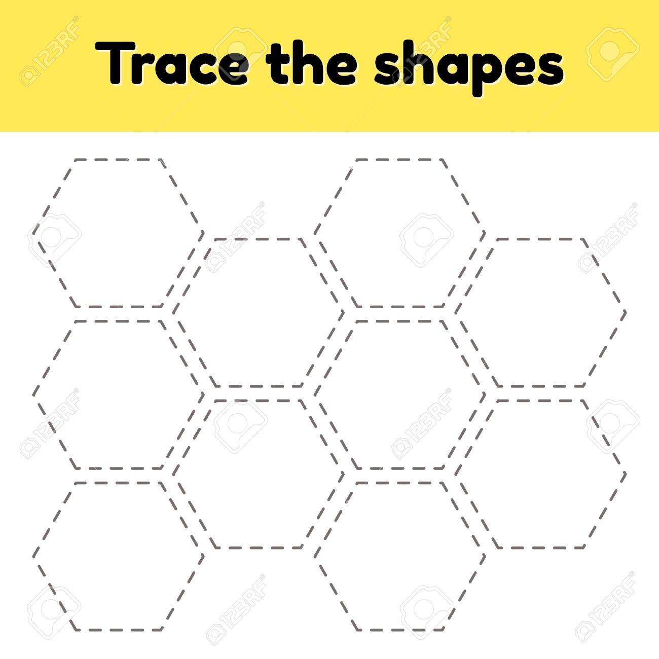 Vector illustration. Educational tracing worksheet for kids kindergarten,..