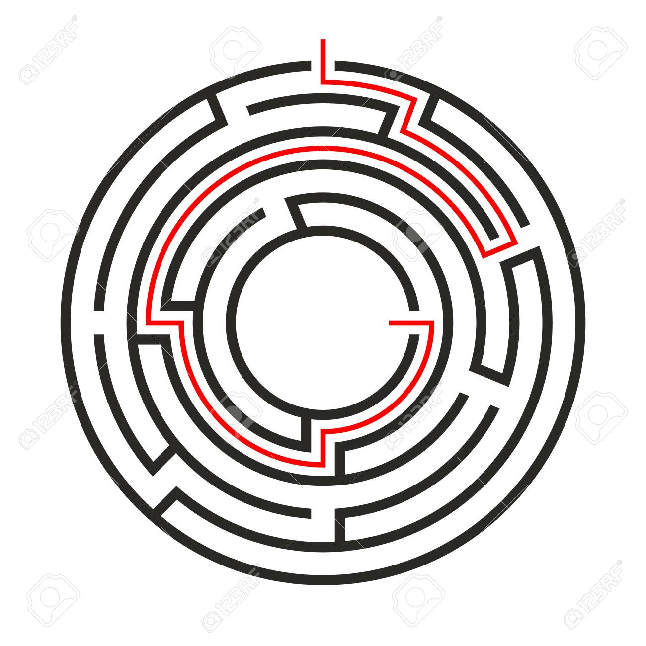 Education logic game circle labyrinth for kids  Find right way