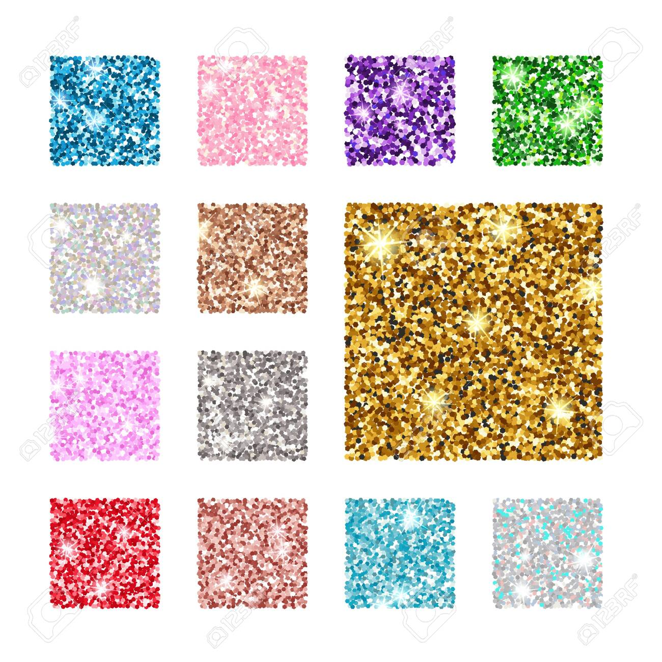 Vector illustration. Set square color glitter texture pattern. Gold, silver, red, pink, blue green purple - 132063112