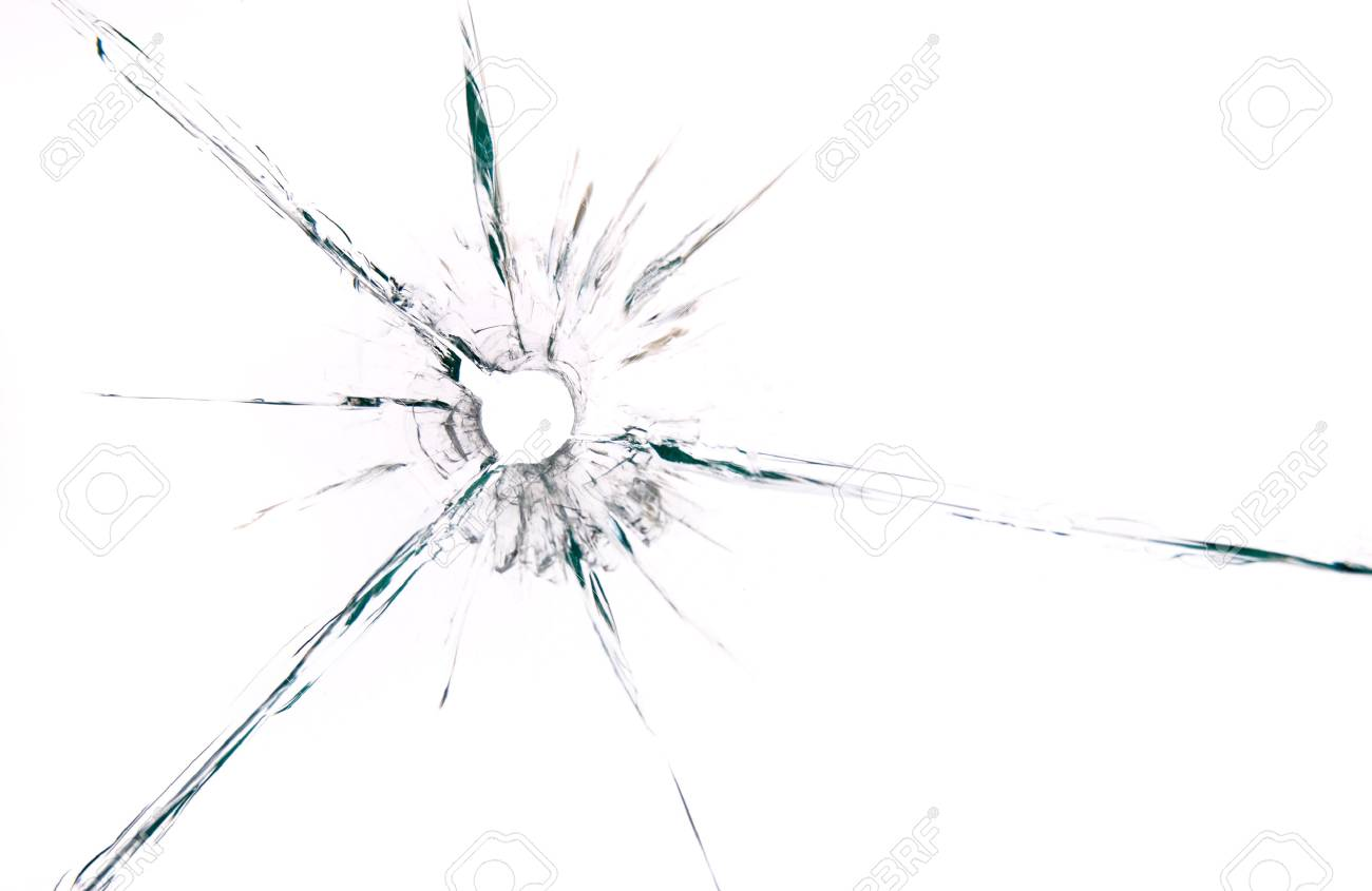 bullet hole in glass close up on white background - 87348726