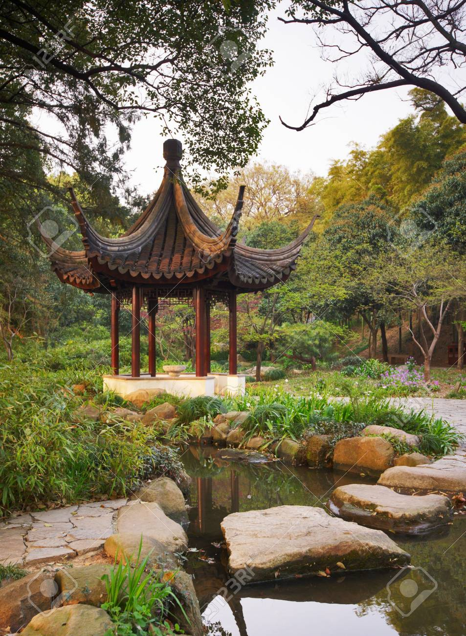 Wooden Gazebo In The Chinese Garden. Tiger Hill, Suzhou, China ...