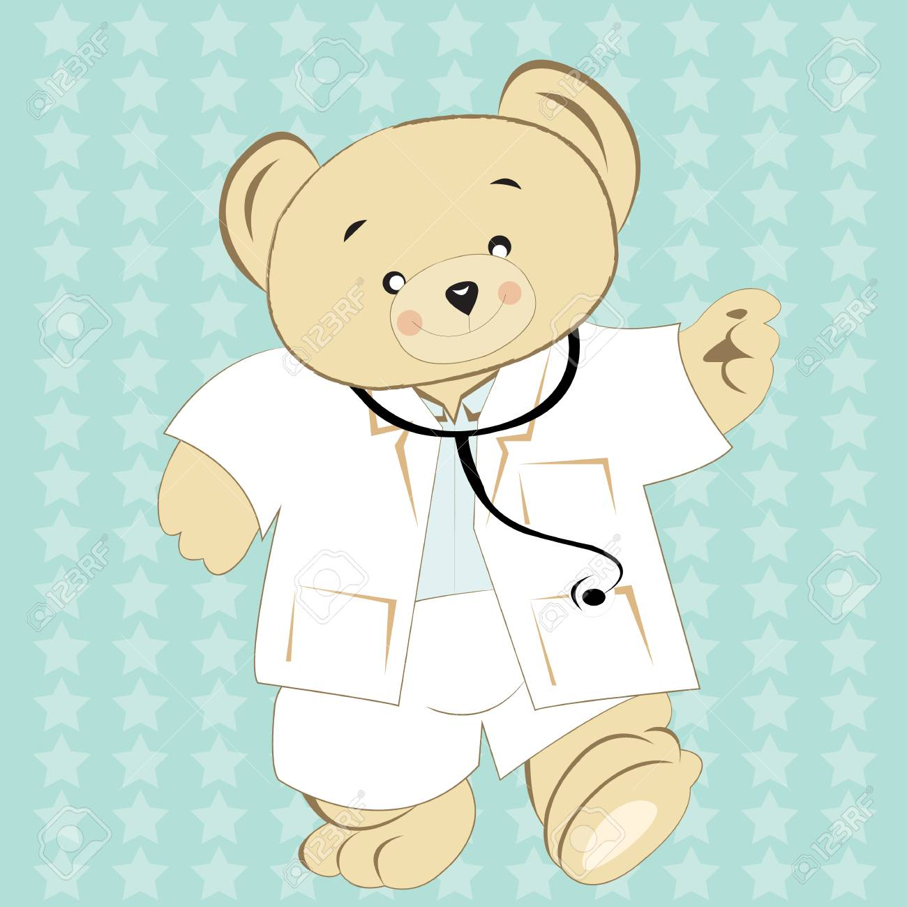 5171bd39 Bear wear doctor uniform,on background mint ,texture star
