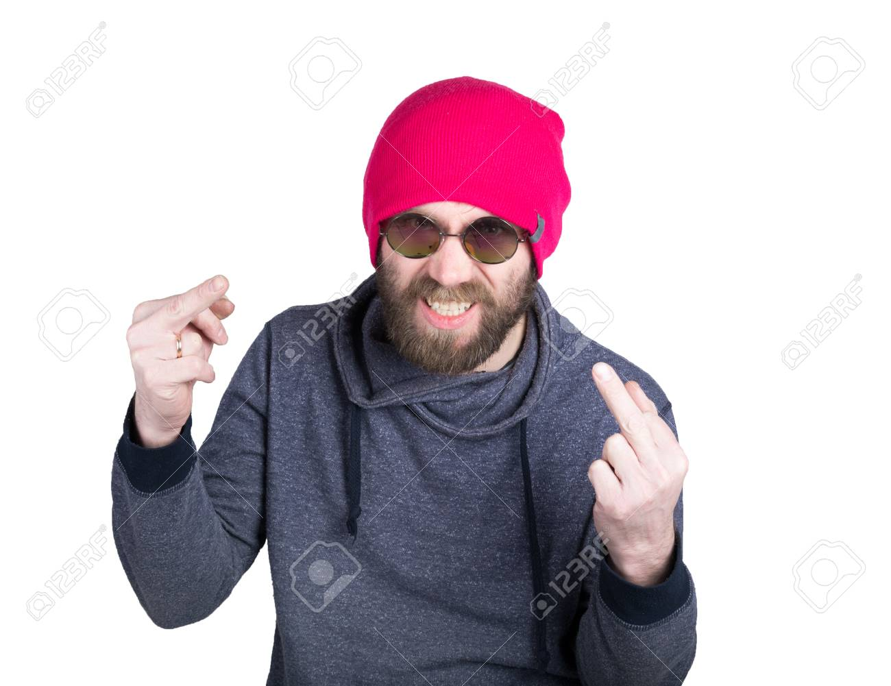 A Cappello Con Lavorato La Giovane Hipster Maglia Handsome Barba In TwHgvpq