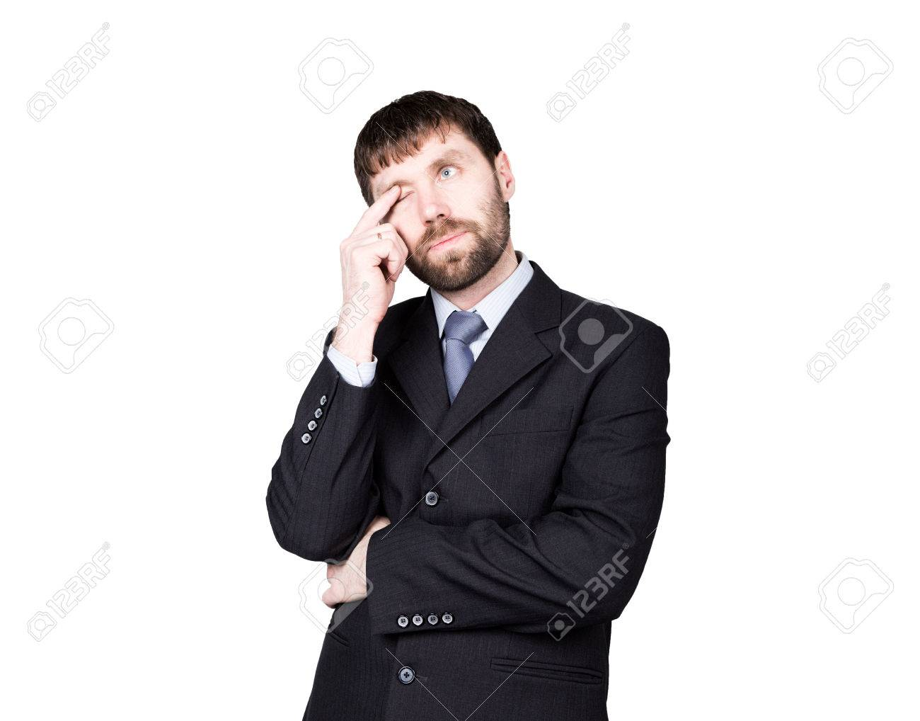 gestures distrust lies. body language. man in business suit, finger touches the lower eyelid, eye. isolated on white background. concept of true or false. - 55727554