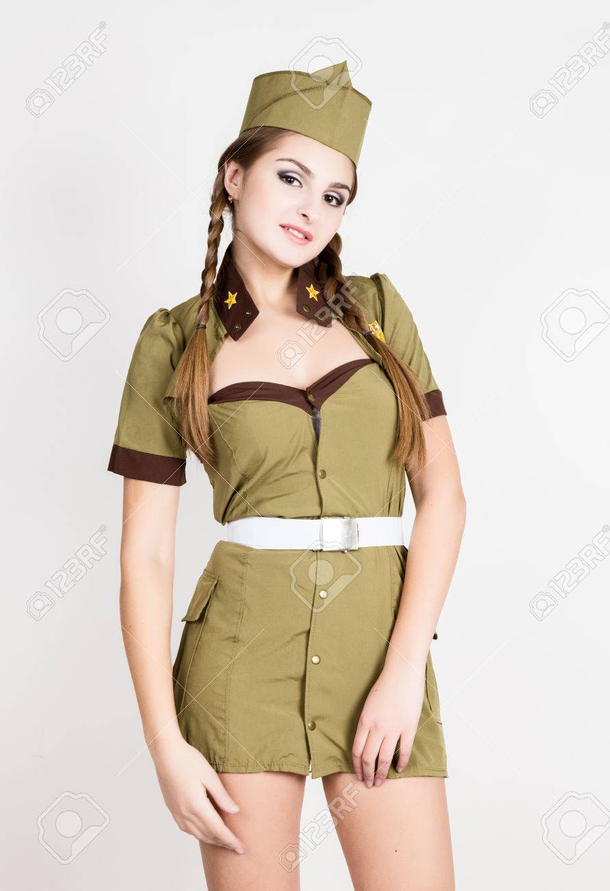 Sexy women in military uniform
