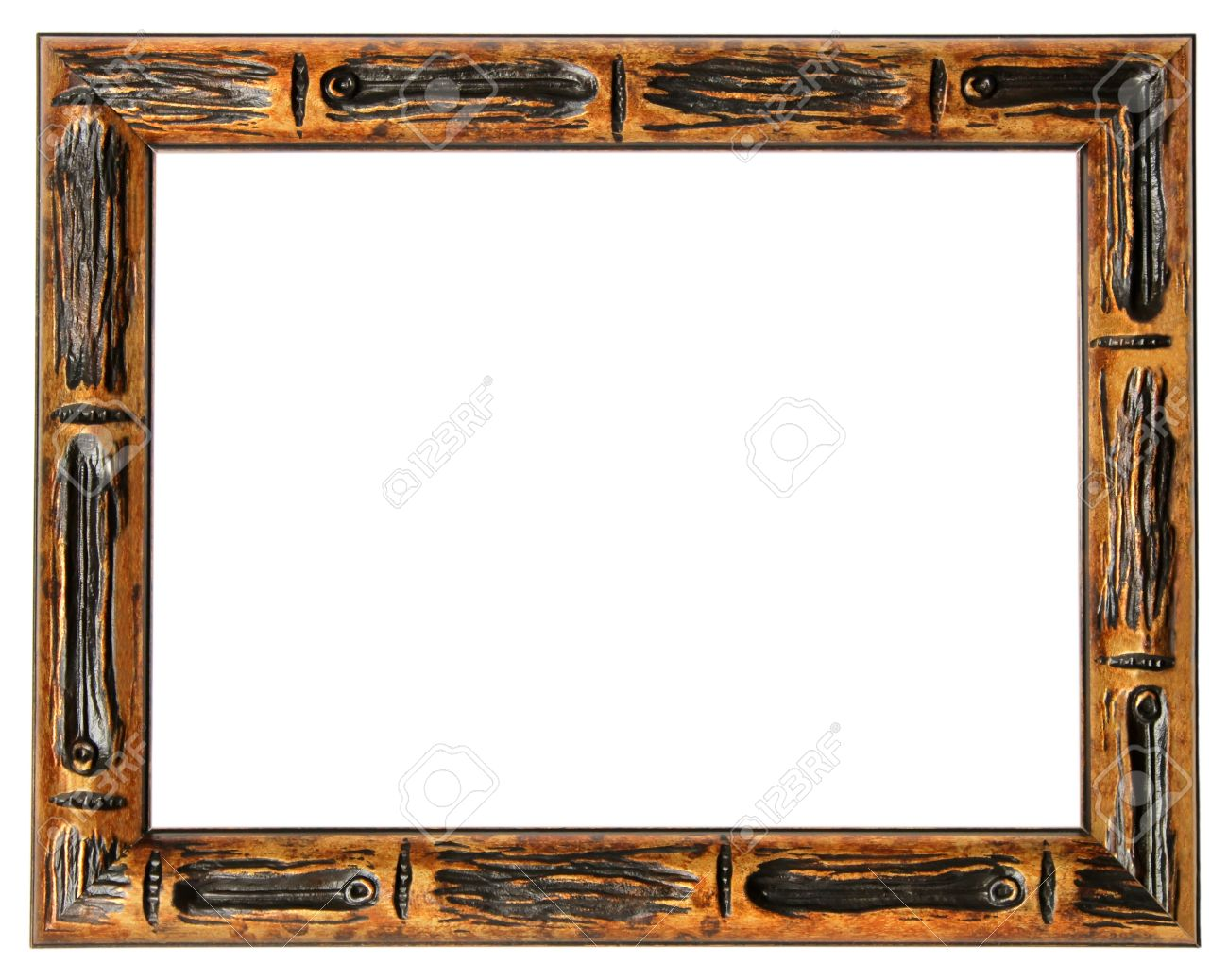 Wood Frame In A Retro Style For The Paintings In Isolation On ...