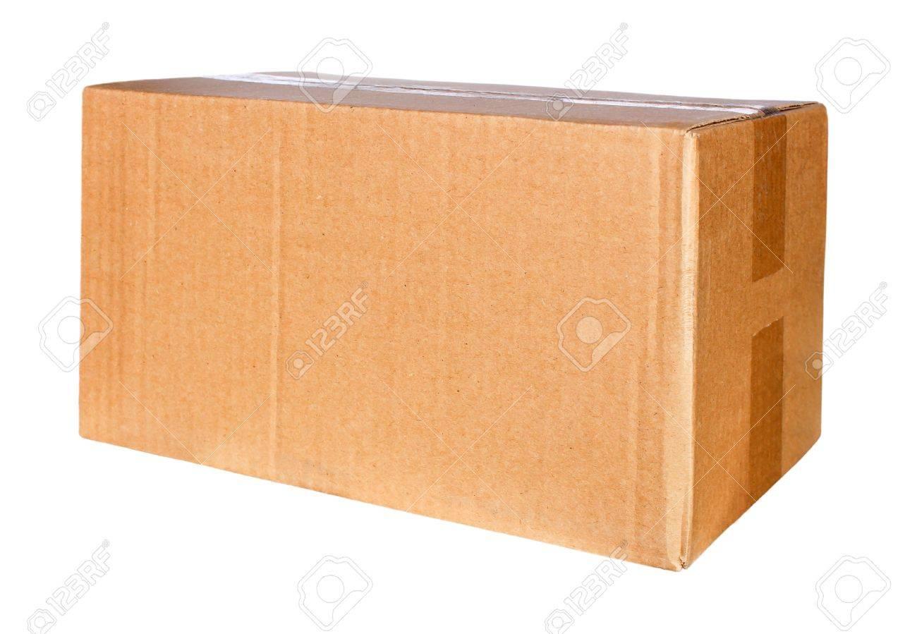 Rectangular Cardboard Box Isolated On White Background Stock Photo ...