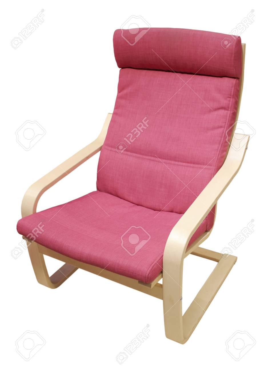 Chaise Confortable Souple Recouvert De Tissu Rouge Isole Sur Un