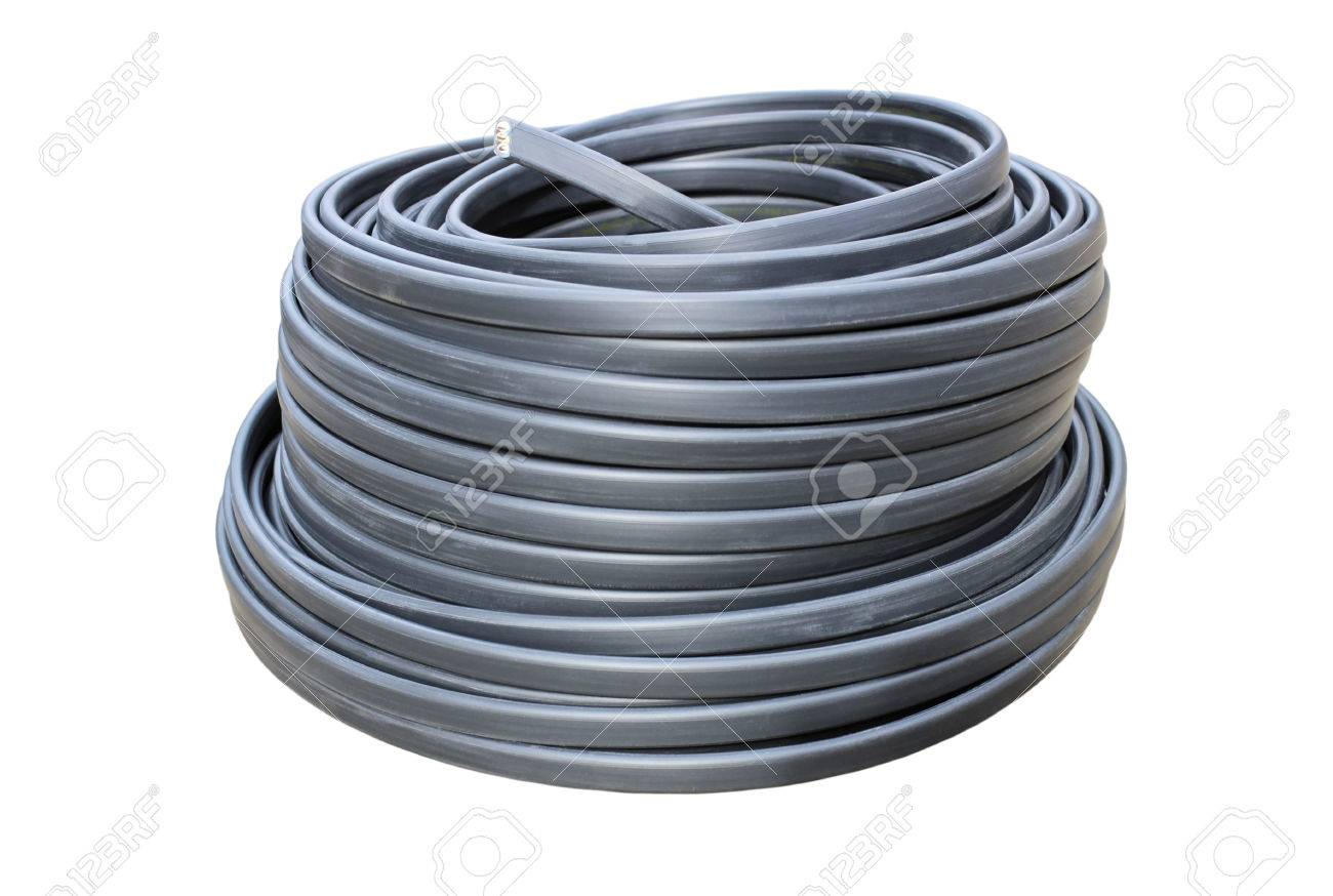 Coil Of Electrical Wire In Black Insulation Isolated On A White ...