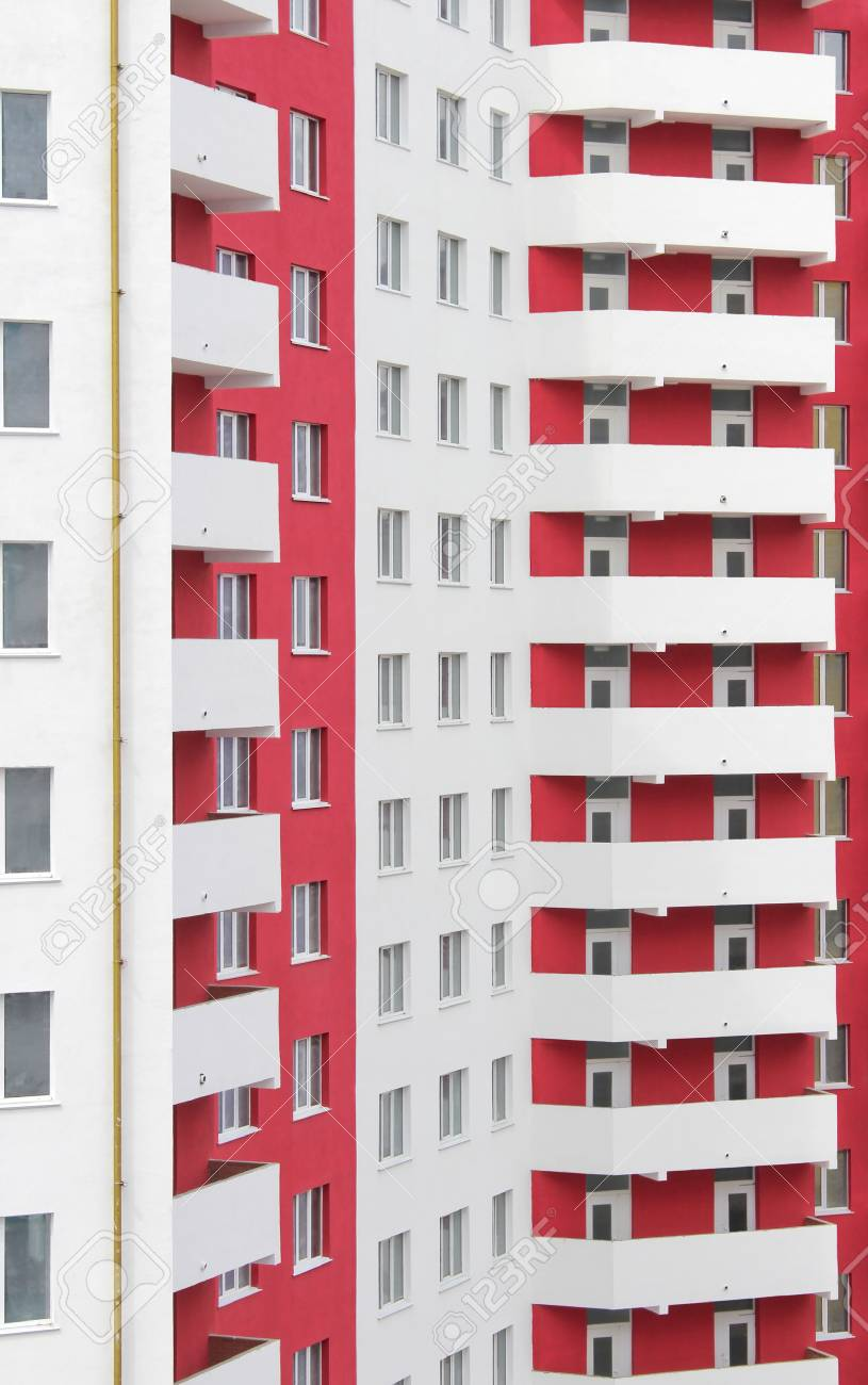 Stock Photo   The New Built High Rise White Red Apartment Building