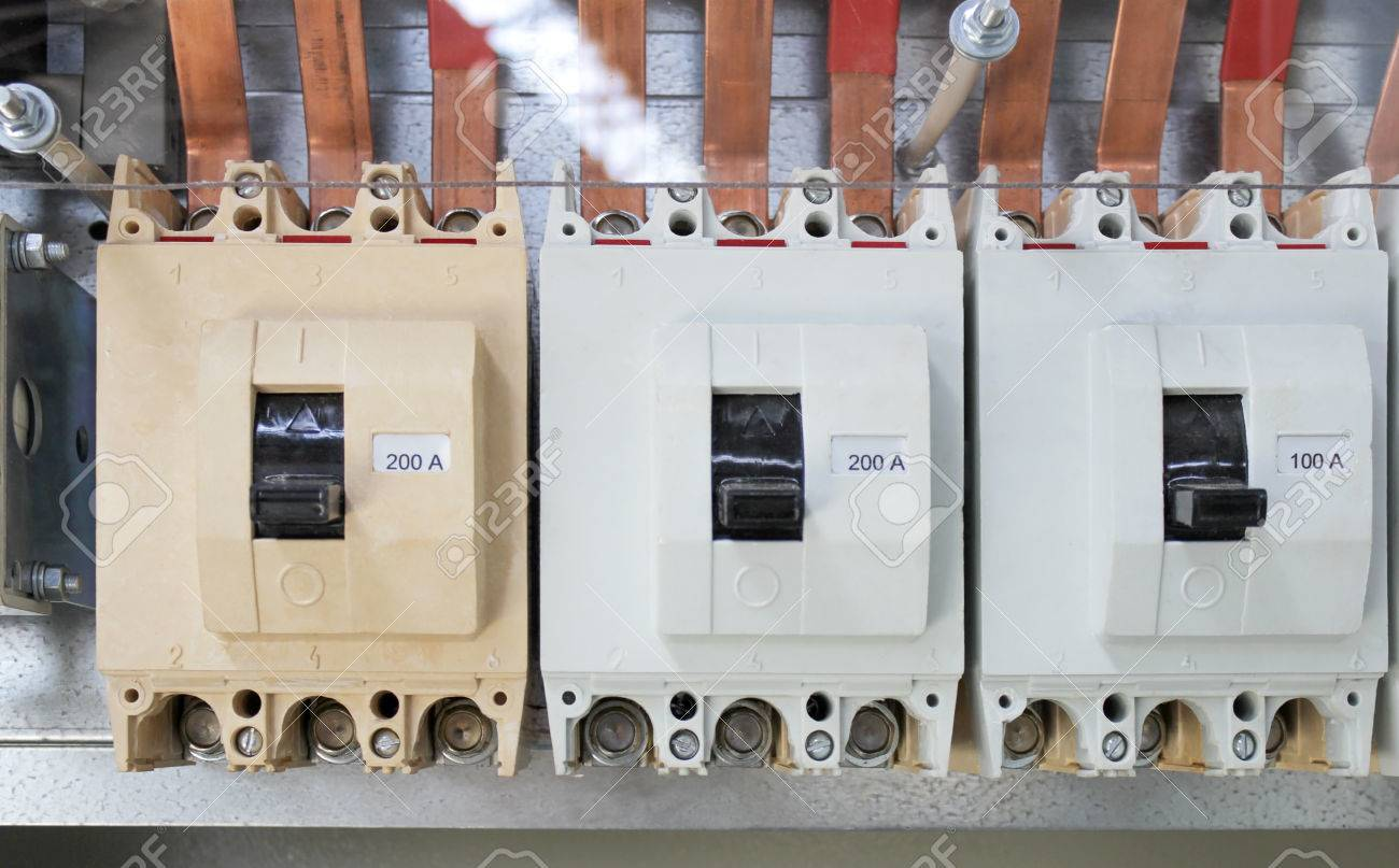 High-voltage Powerful Electric Breakers In The Switchgear Stock ...