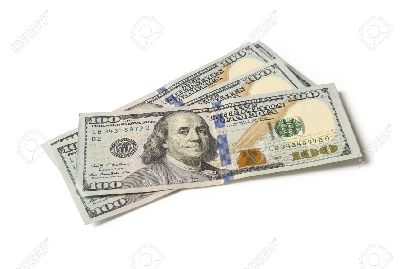 Hundred dollar bills isolated on white background - 137150642