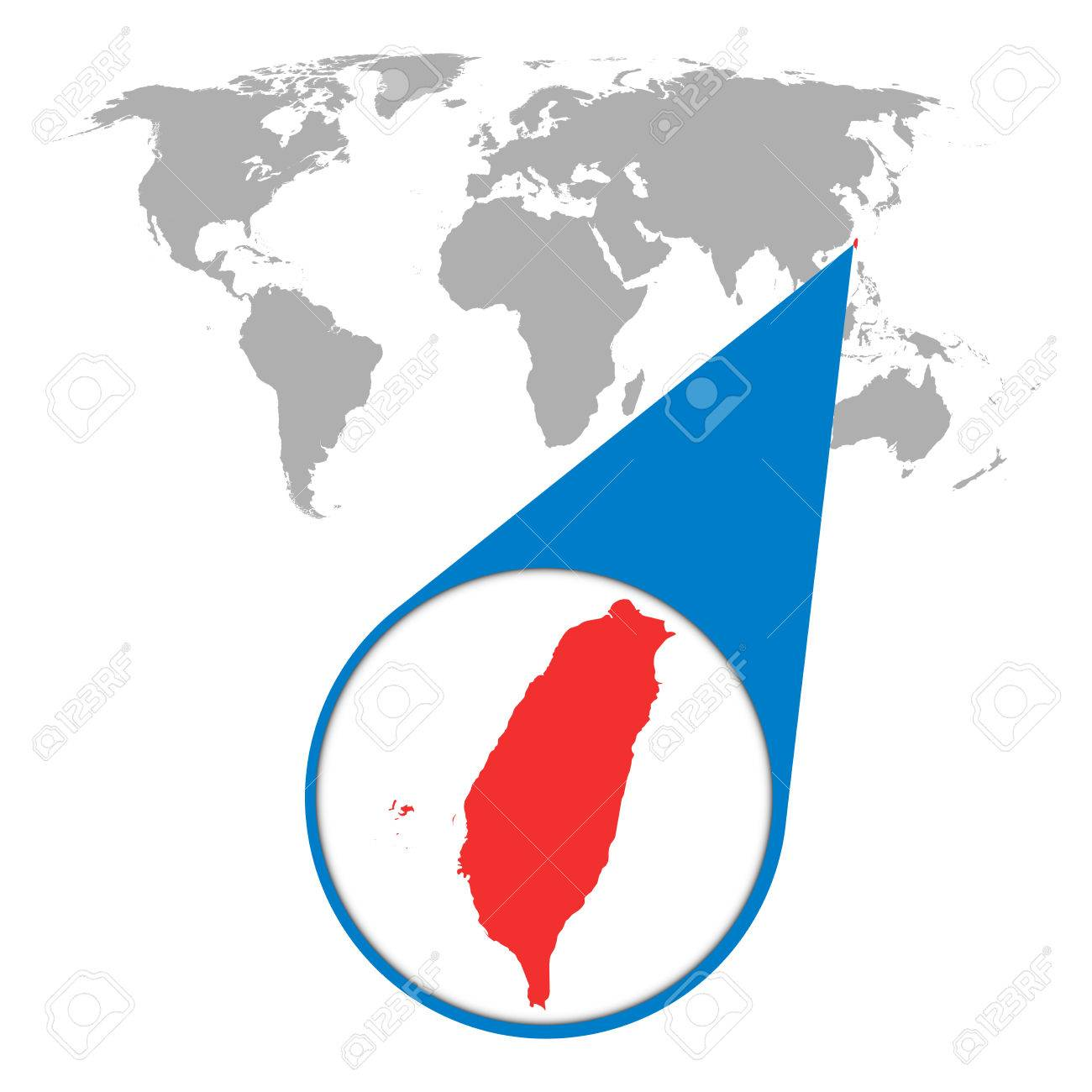 World map with zoom on Taiwan. Map in loupe. Vector illustration.. on interactive map of world, tectonic map of world, physiographic map of world, google map of world, zoom map of world, searchable map of world, printable map of world,