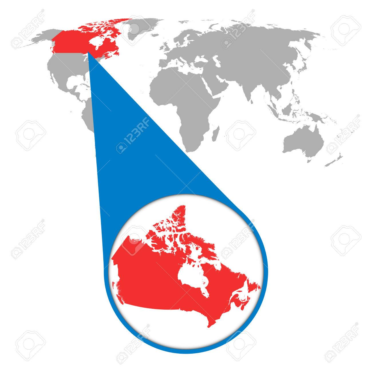 Canada Map Of The World.World Map With Zoom On Canada Map In Loupe Vector Illustration