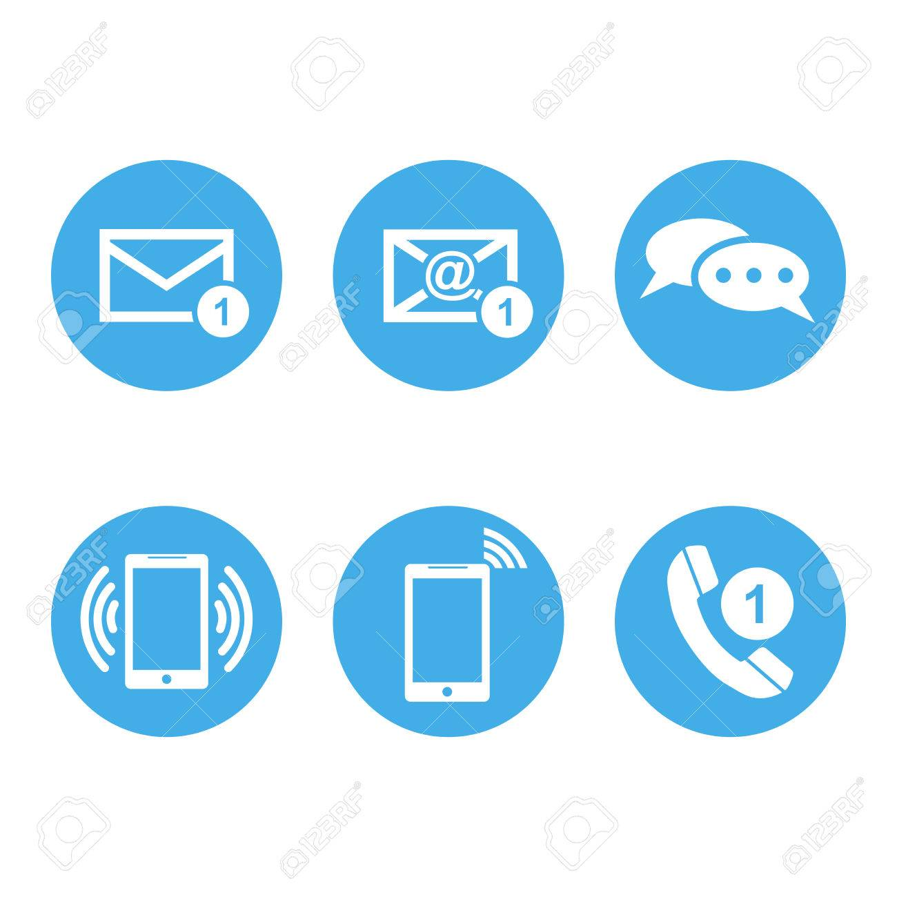 Contact buttons set icons  Email, envelope, phone, mobile  Vector