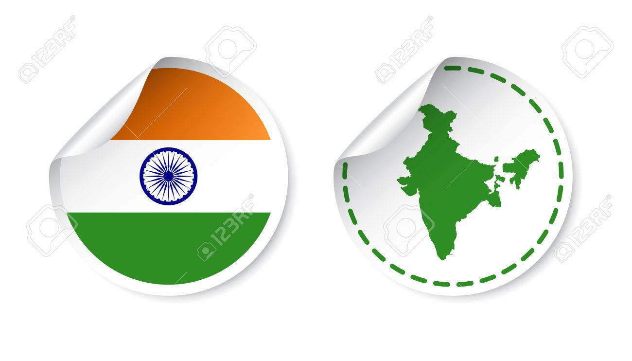 India sticker with flag and map label round tag with country vector illustration