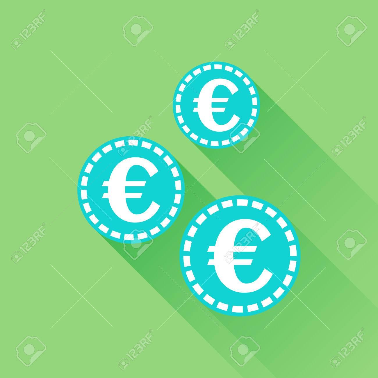 Euro Münzen Symbol Vektor Illustration Im Flachen Stil Blaue Münze