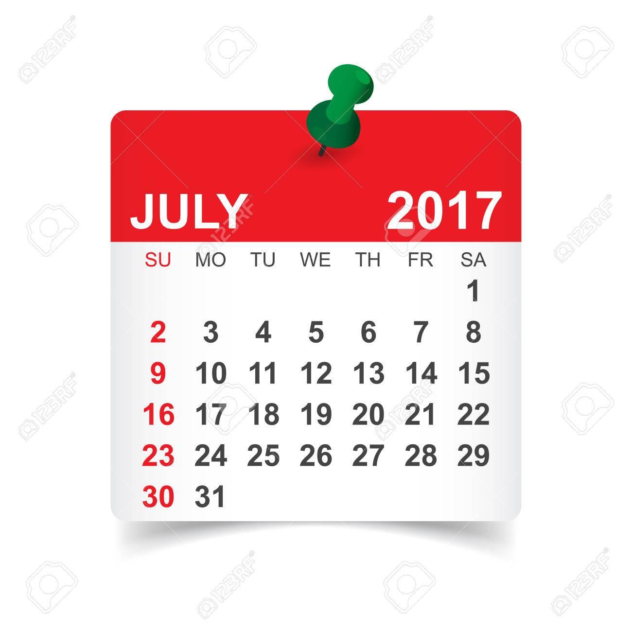 17 年 7 月 カレンダーのベクトル イラストのイラスト素材 ベクタ Image