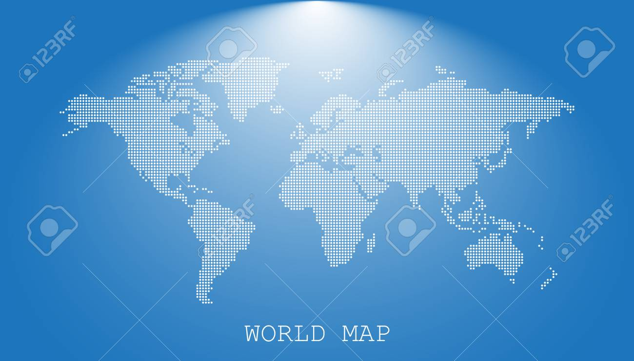 dotted blank white world map isolated on blue background world map vector template for website
