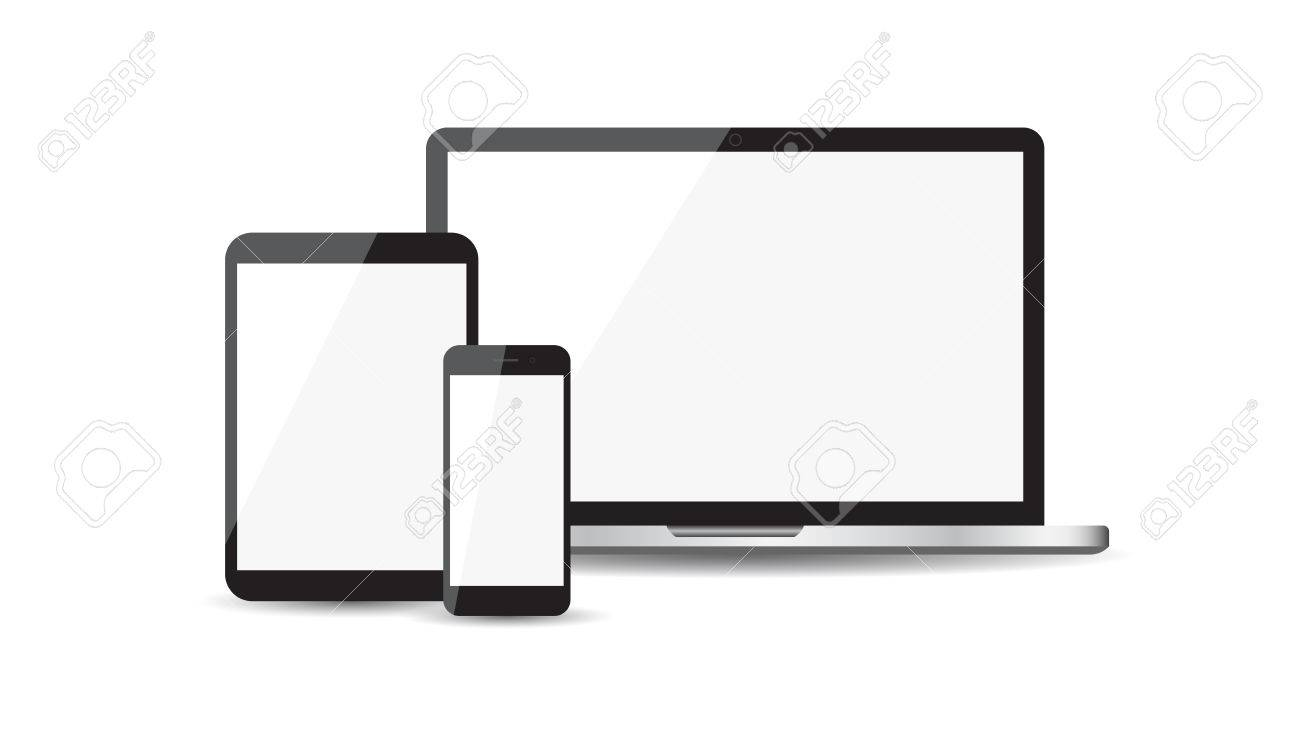 Realistic device flat Icons: smartphone, tablet, laptop  Vector
