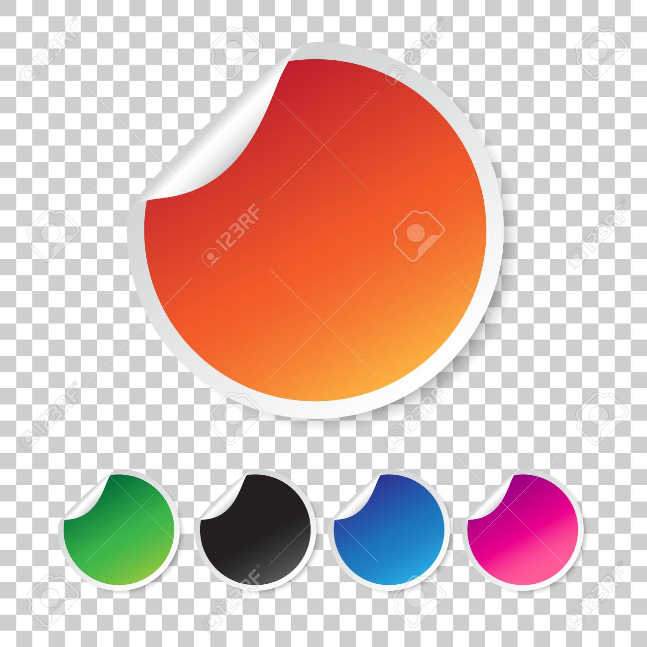 Set of blank stickers  Empty promotional labels  Vector illustration