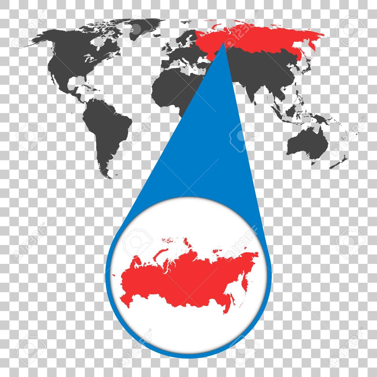 Map Zoom.World Map With Zoom On Russia Russian Federation Map In Loupe
