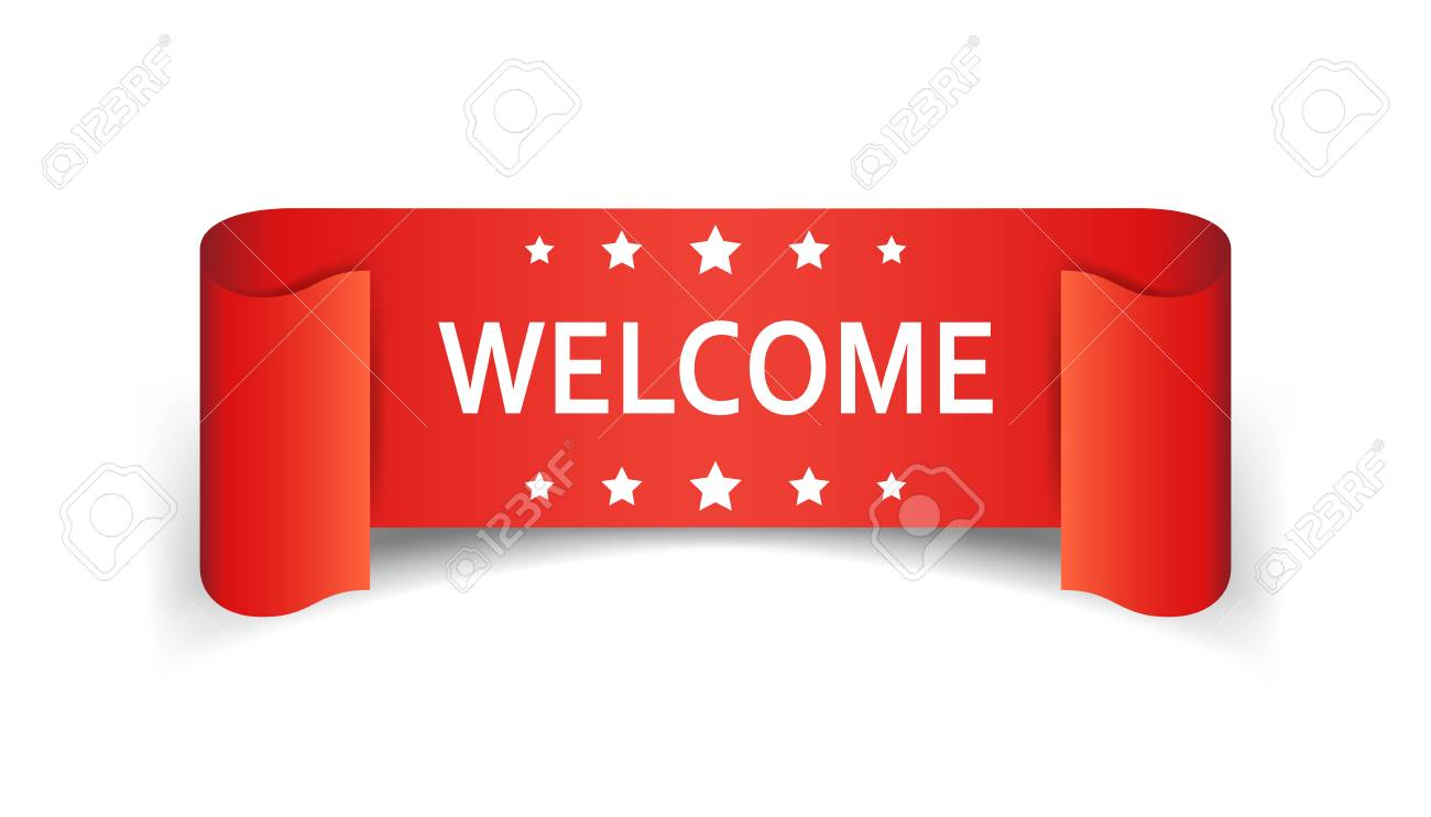 welcome ribbon icon hello sticker label on white design royalty