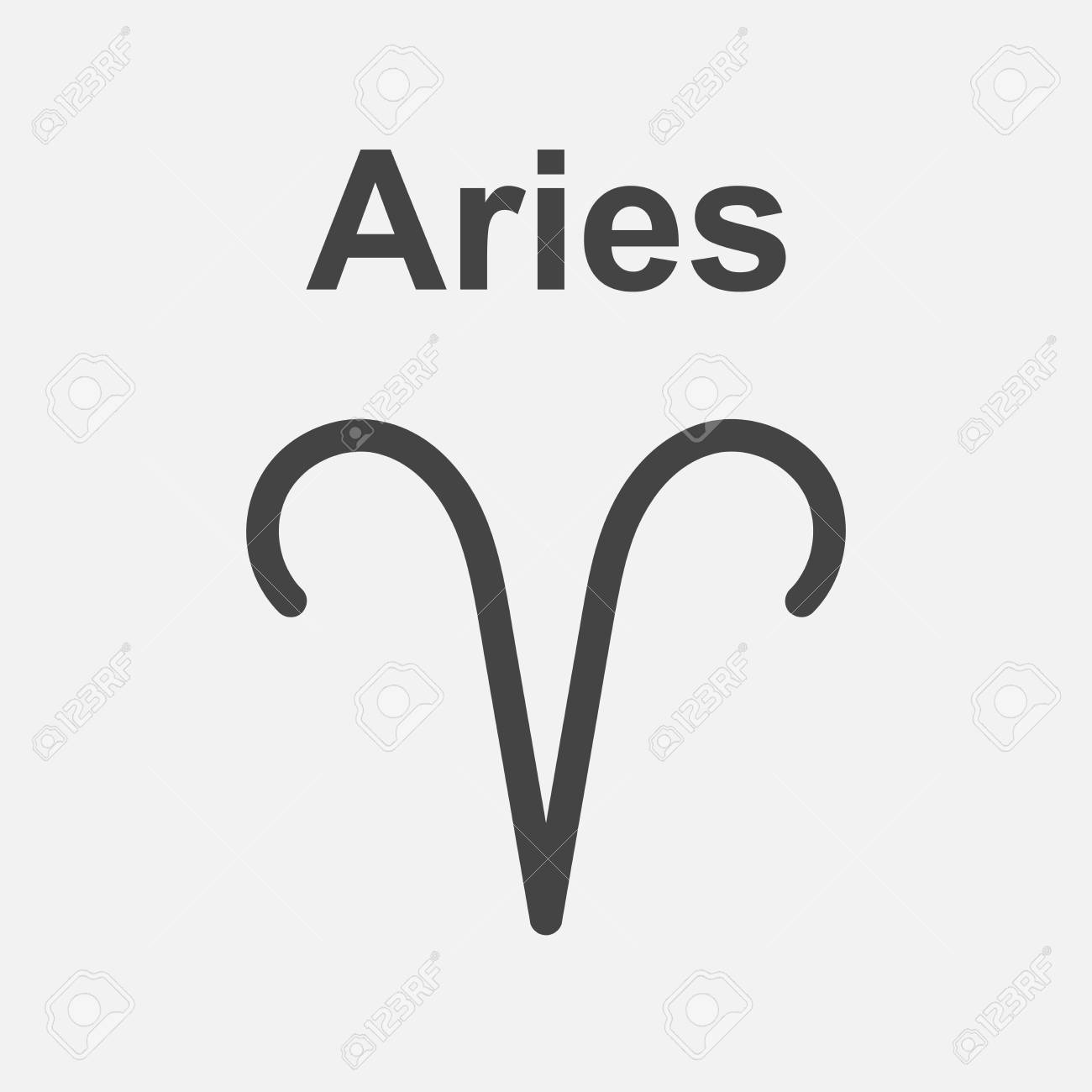 Aries Zodiac Sign Flat Astrology Vector Illustration On White