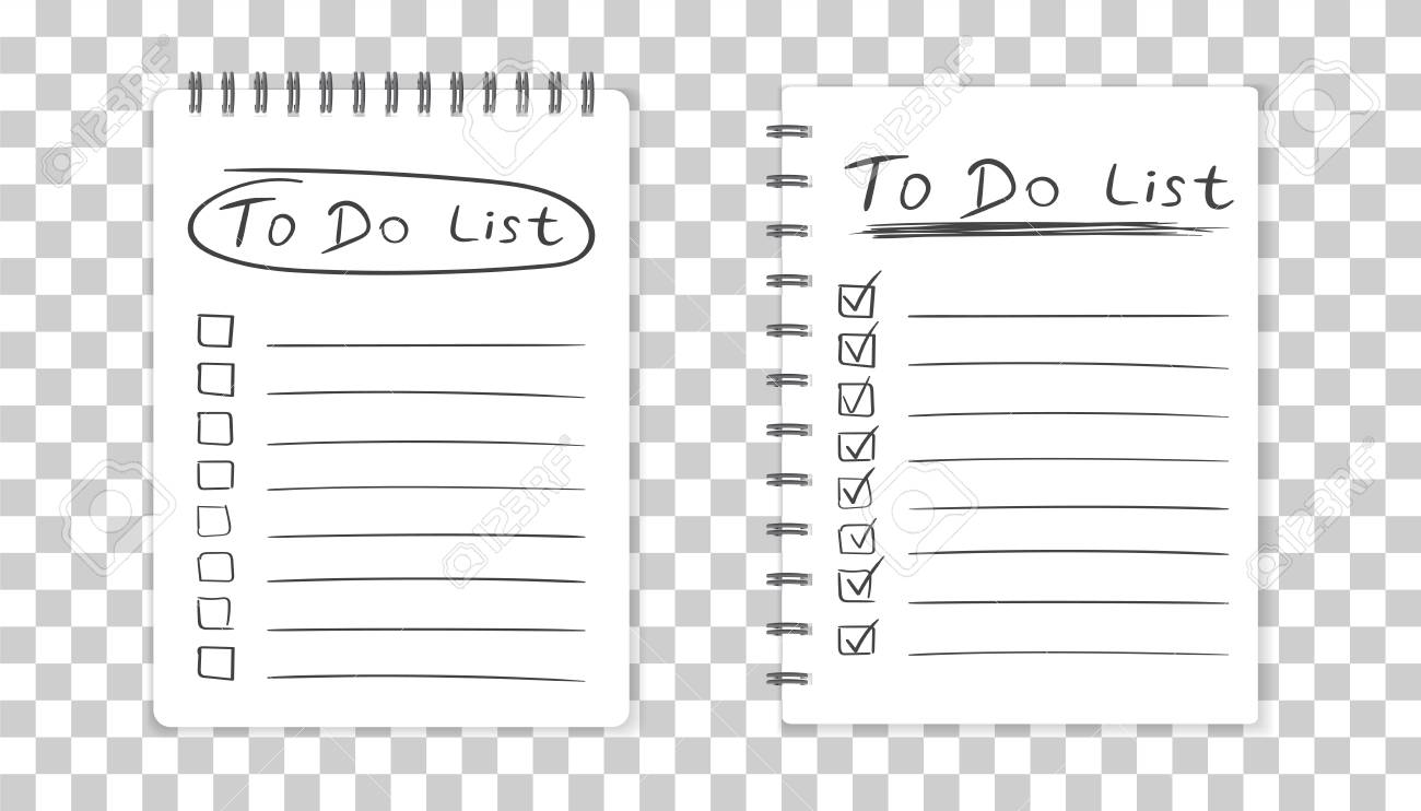 realistic notepad with spiral to do list icon with hand drawn text school business
