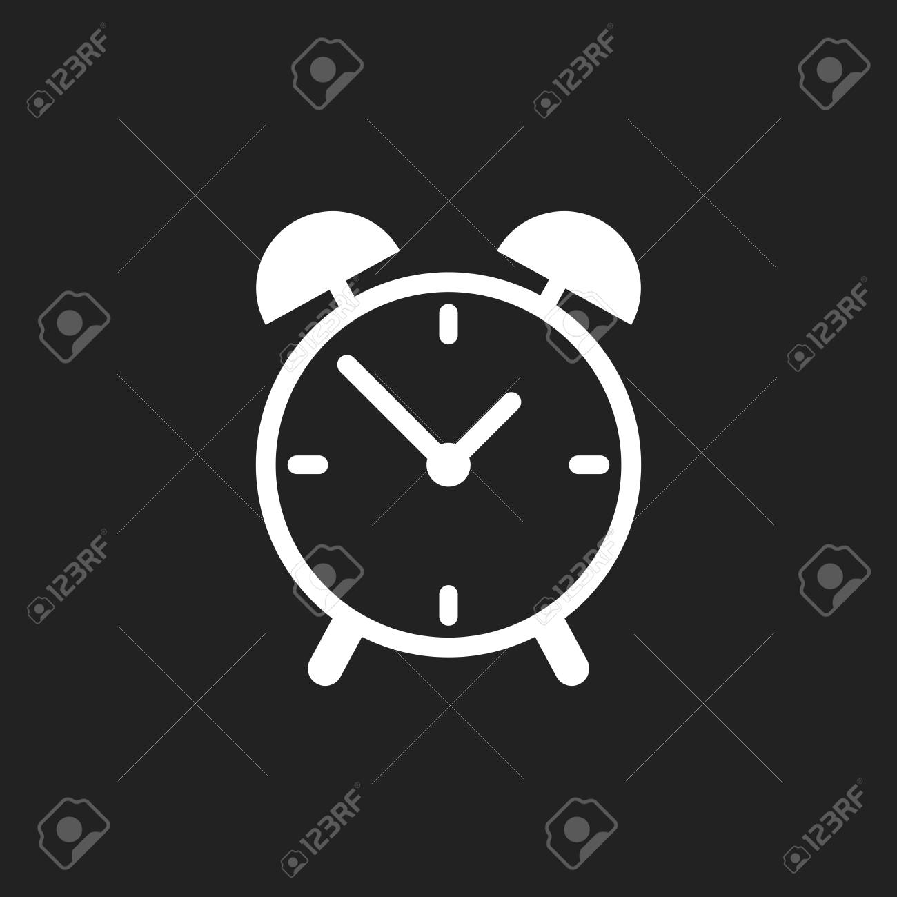Alarm clock icon  Flat design style  Simple icon on black background