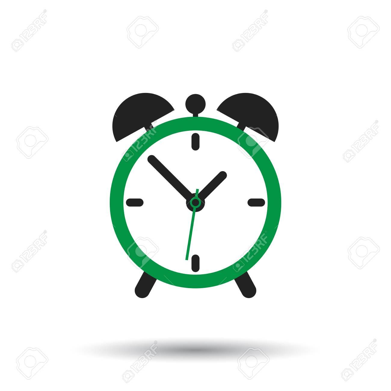 Alarm clock icon  Flat design style  Simple icon on white background
