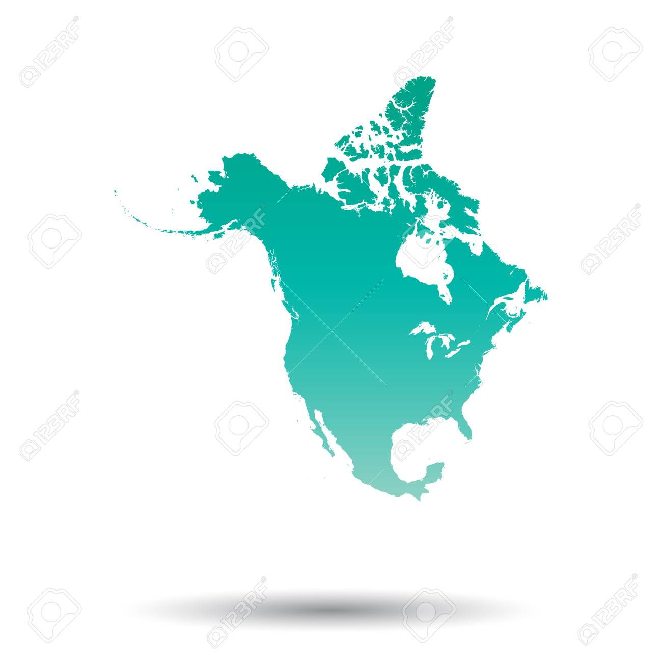 north america map colorful turquoise vector illustration on rh 123rf com north america vector free north america vector map