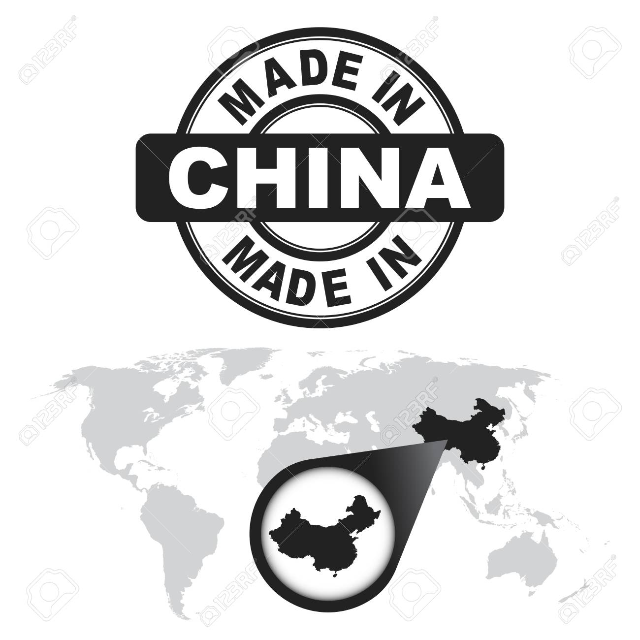 Made in china stamp world map with zoom on country royalty free made in china stamp world map with zoom on country stock vector 74892315 gumiabroncs Images