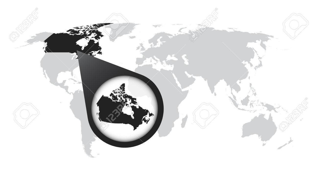 World map with zoom on Canada. Map in loupe. Vector illustration.. on bright map of the world, titled map of the world, pdf map of the world, tectonic map of the world, interactive map of the world, google map of the world, zoom map of the world, rotatable map of the world, glacial map of the world, searchable map of the world,