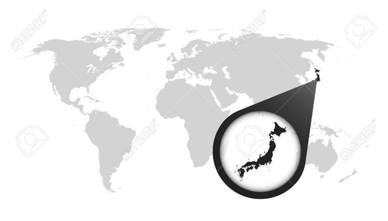 World map with zoom on japan map in loupe vector illustration world map with zoom on japan map in loupe vector illustration in flat style gumiabroncs