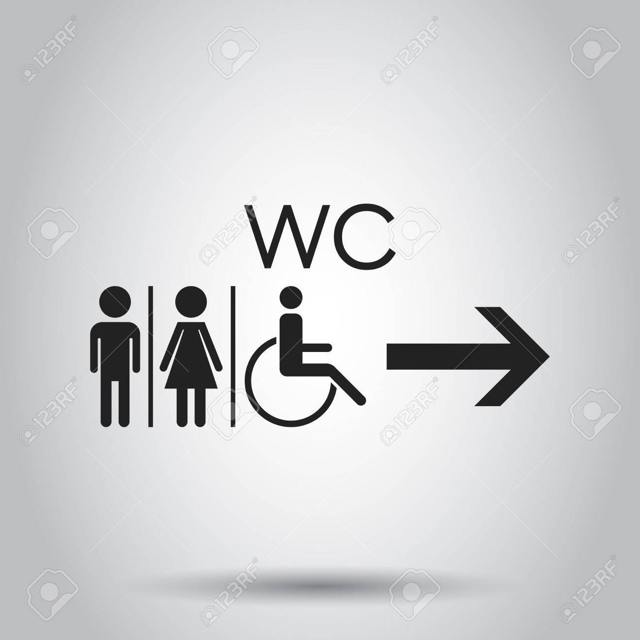 Wc Wc Vector Icono Plano Los Hombres Y Las Mujeres Firman Para