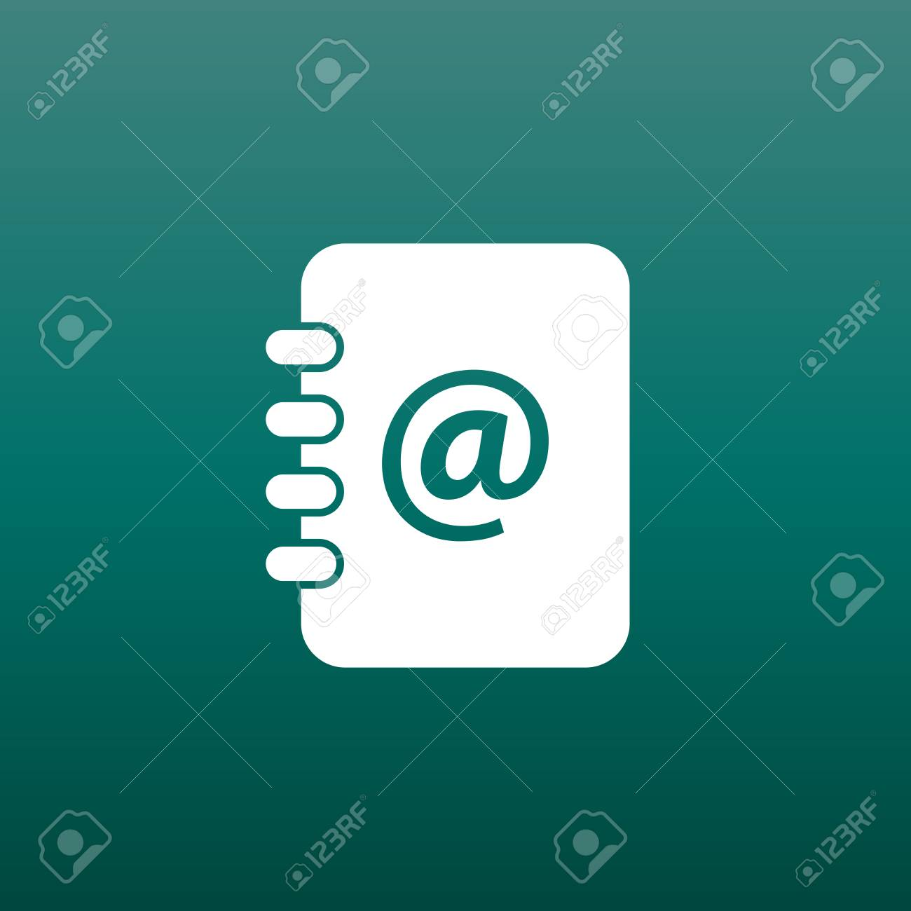 address book icon email note flat vector illustration on green