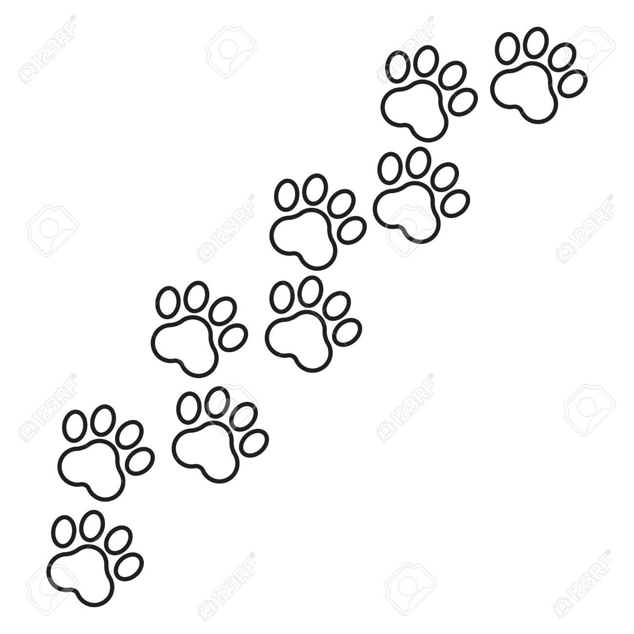Paw Print Vector Icon In Line Style Dog Or Cat Pawprint Illustration