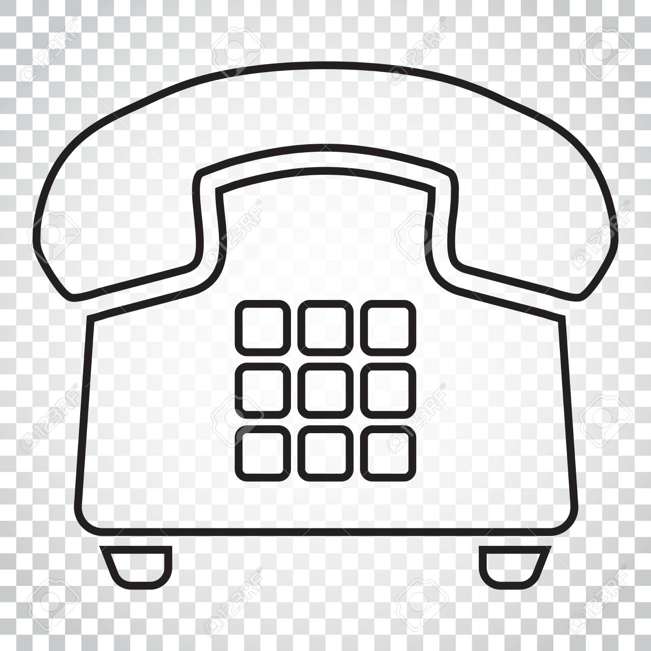 Phone vector icon in line style  Old vintage telephone symbol