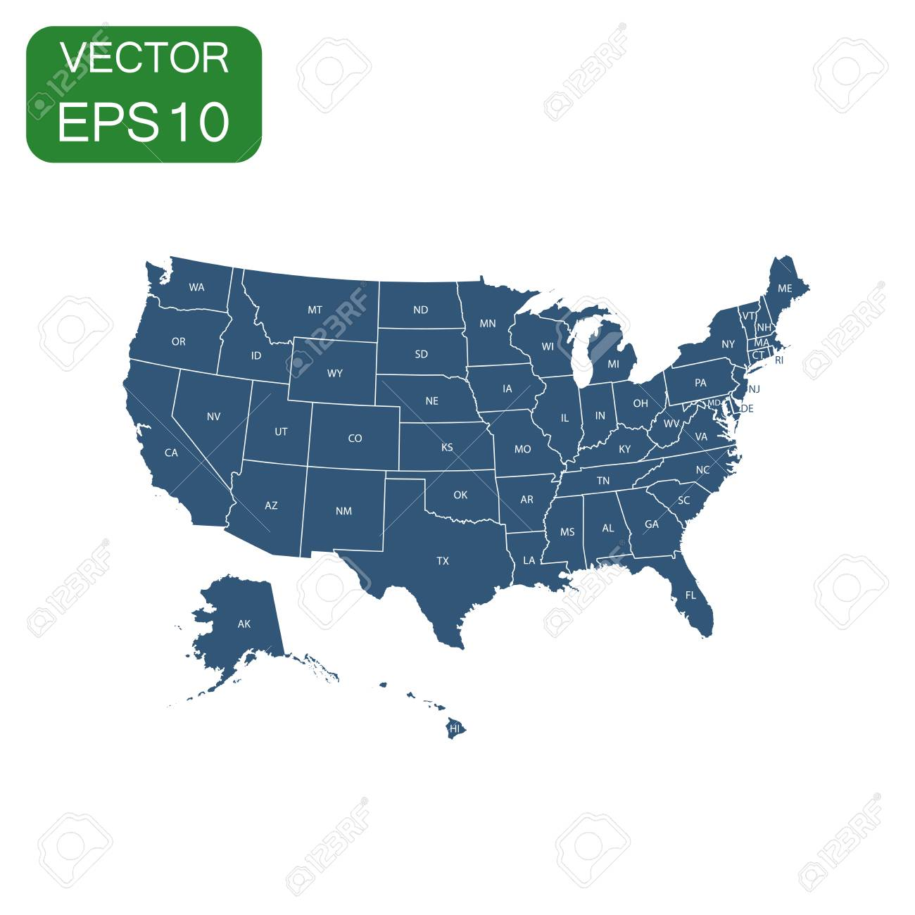 Usa Map Icon Business Concept America Politics Pictogram Vector