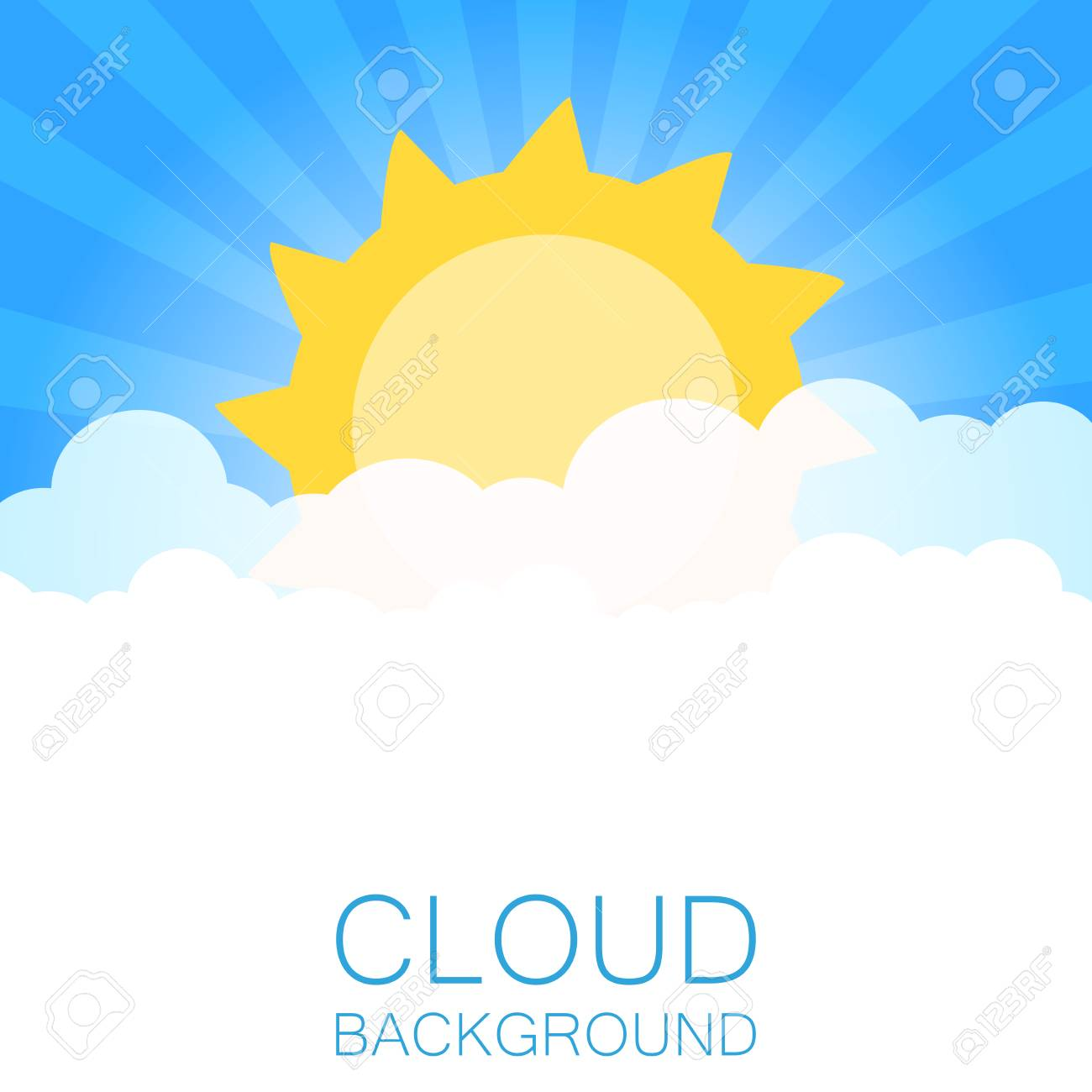 clouds in the sky with sun rays flat vector illustration in rh 123rf com vector skydiving rig vector skylines