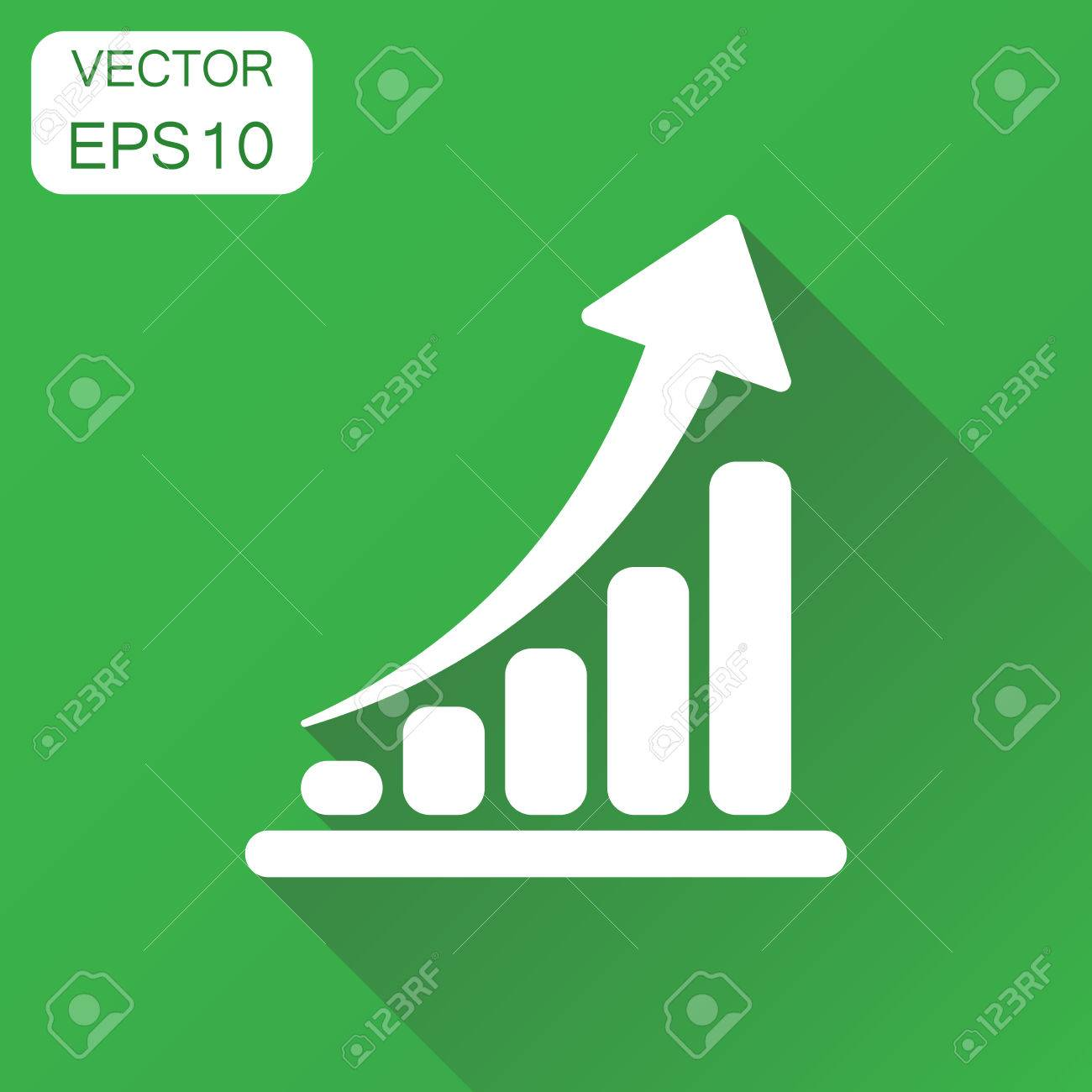 Growth chart icon business concept grow diagram pictogram vector business concept grow diagram pictogram vector illustration on green background with ccuart Image collections